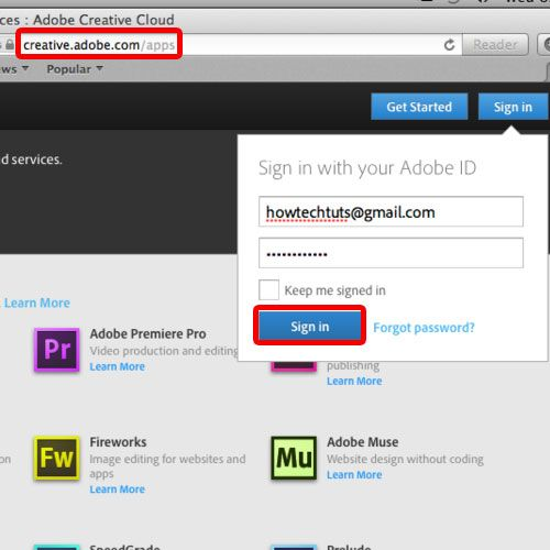 viewing the adobe website