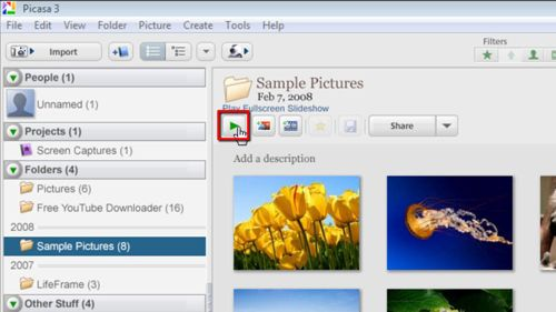 Starting a slideshow in Picasa