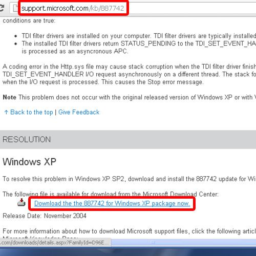 Download update package from Microsoft's support site