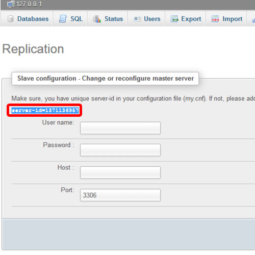 configuring slave replication