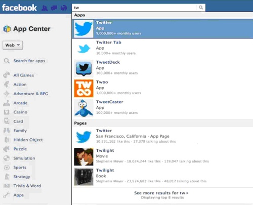 Sign In in Your Facebook and Search for Twitter Tab