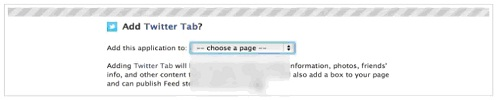 Choose Where You want to add twitter tab
