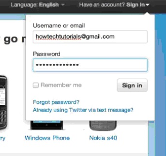 Sign In to your Twitter account