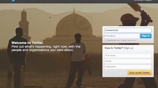 Log in to Twitter account