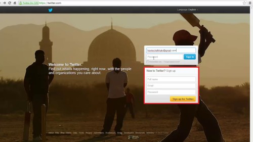 Create new twitter app with gmail