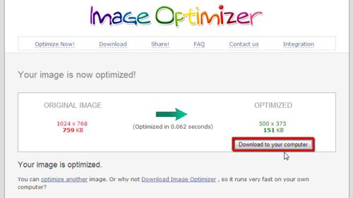 ownloading the adjusted image
