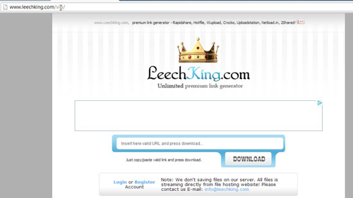 The LeechKing website