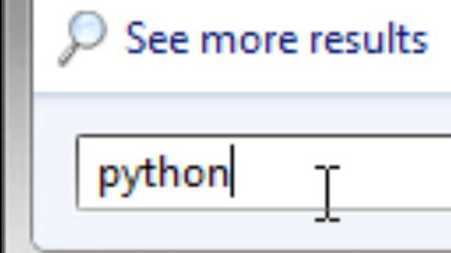 type python in the search field