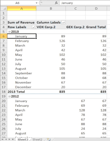 Excel displays the search results