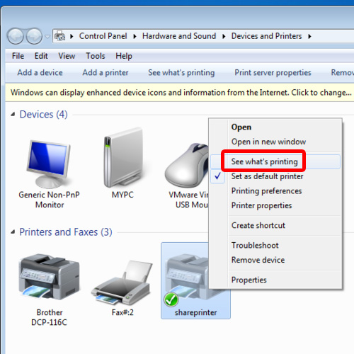 Choose the see what's printing option