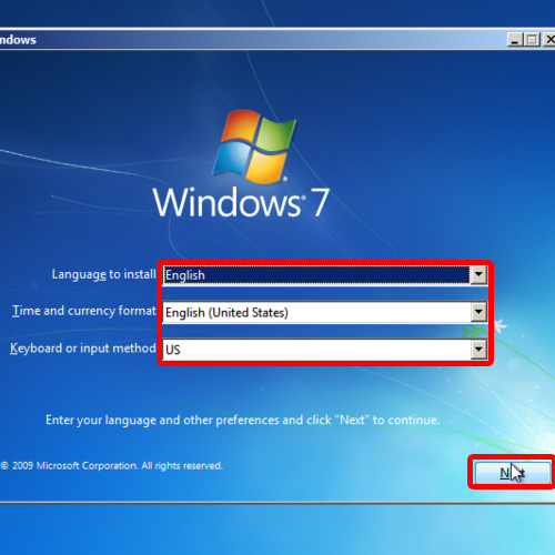 Set language, time and currency for Windows