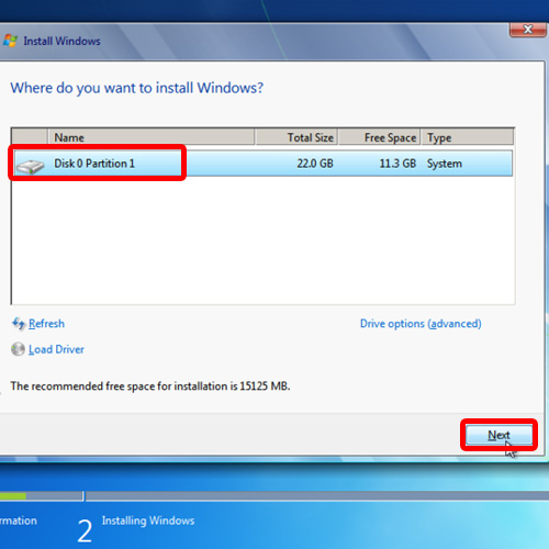Choose the location where you want to install Windows