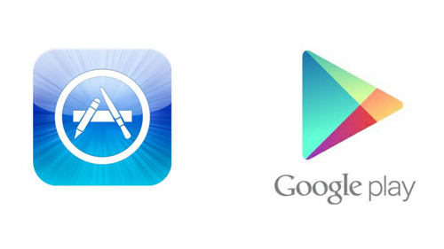The two app stores for Apple and Android