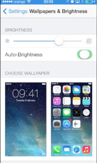 enabling Auto-Brightness feature  on iPhone running iOS 7