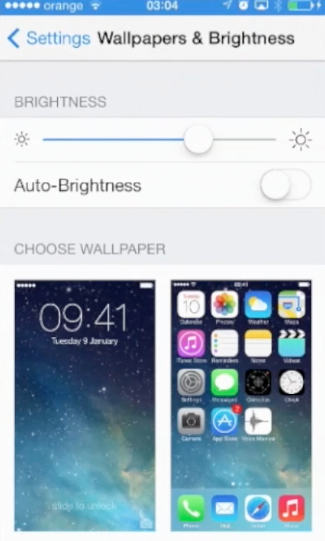 disabling Auto-Brightness feature   on iPhone running iOS 7