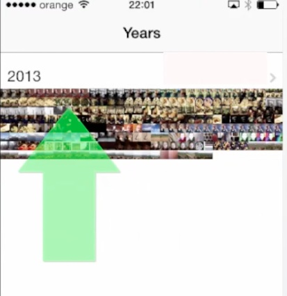 "examining ""Years"" views on iPhone running on iOS 7"