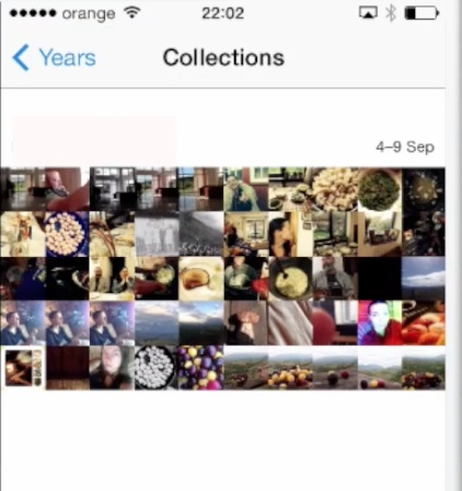 "inside ""Collections"" view on iPhone running on iOS 7"
