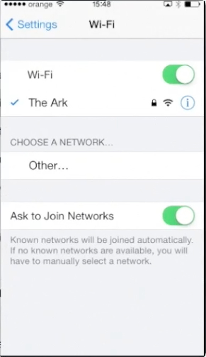 accessing Wi-Fi through  Settings on iPhone running on iOS 7