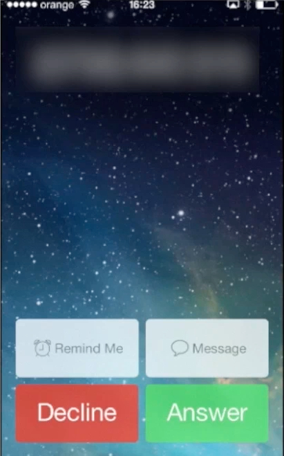 Declining the call on iPhone running iOS 7