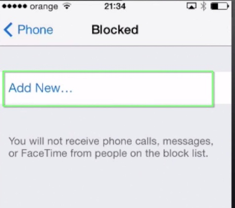 adding contact to Blocked list on iPhone running iOS 7