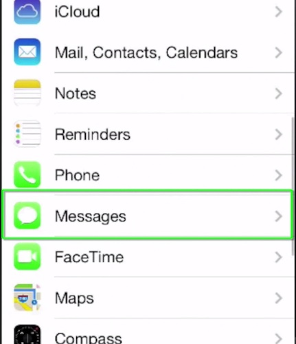 accessing Messages feature on iPhone running iOS 7
