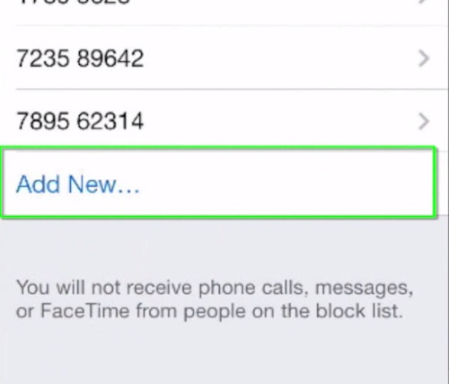 adding contact to Blocked Messages list on iPhone running iOS 7