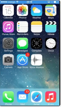 "tapping  ""Settings"" from home screen of iPhone running on iOS 7"
