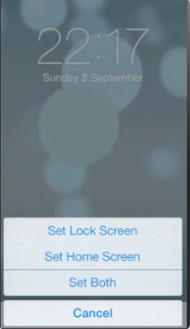 confirming setting of dynamic wallpaper in iOS 7