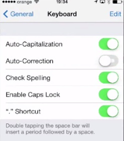 turning Autocorrection off on iPhone running iOS 7