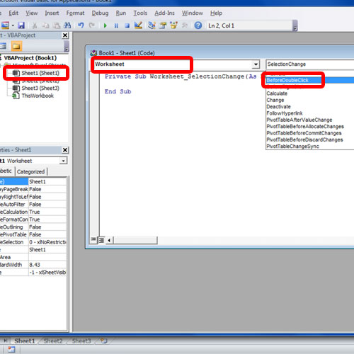 Select the worksheet and event handler