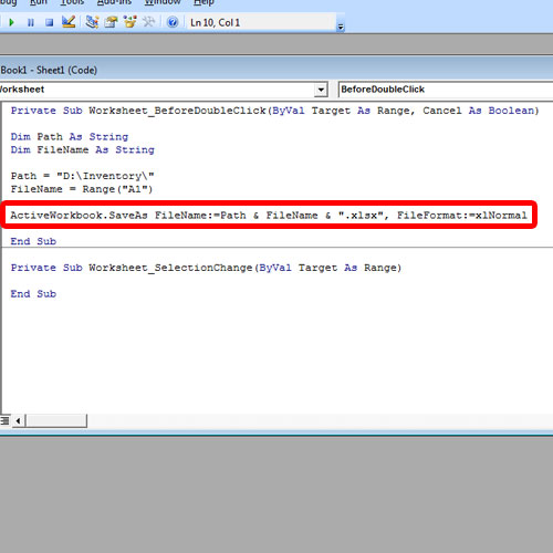 Insert the code perform save as function