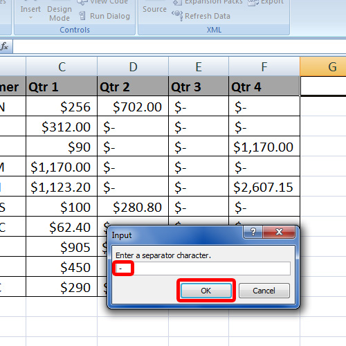 Insert a separator to add between column values
