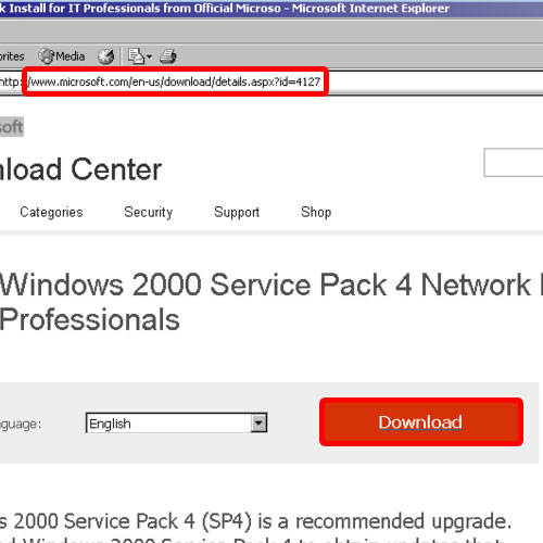 Download service pack for Windows 2000