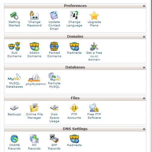 cPanel's graphical interface
