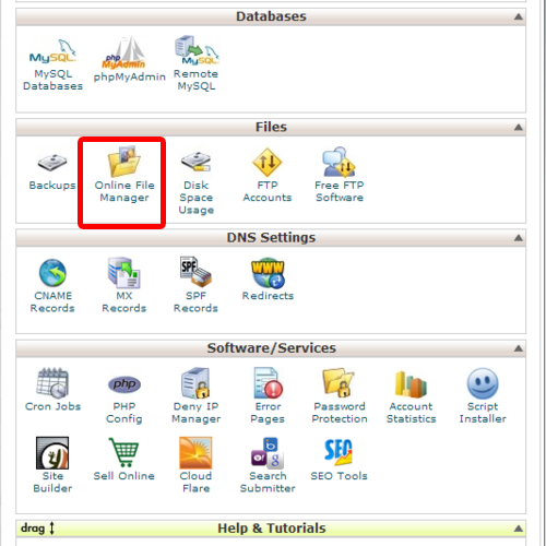 C Panel's online file manager