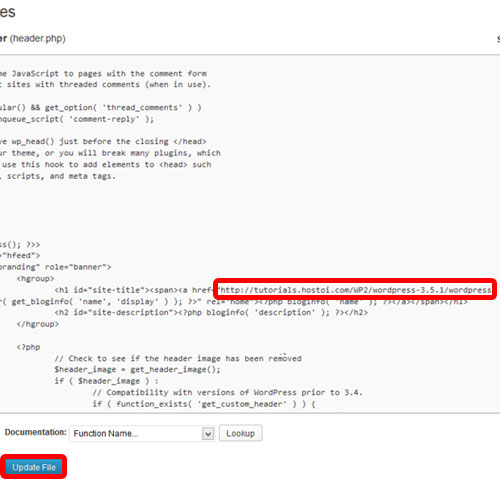 updating the header.php script