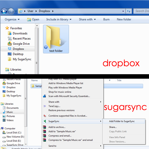 Comparison between dropbox & sugarsync