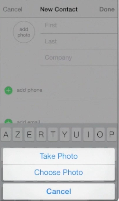 adding photo of a contact on iPhone running on iOS 7