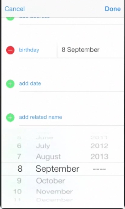 adding birthday date of contact  on iPhone running on iOS 7