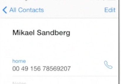 editing contact information  on iPhone running on iOS 7