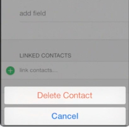 deleting contact record on iPhone running on iOS 7