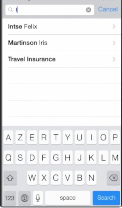 contact search on iPhone running on iOS 7