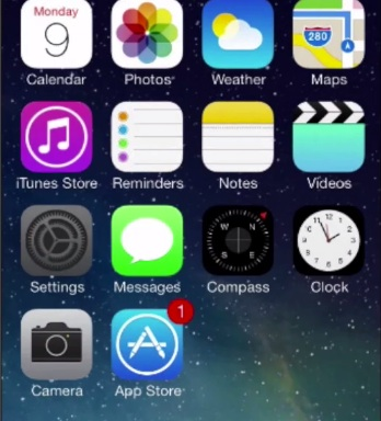 "tap ""Settings"" from the home screen of iPhone running on iOS 7"