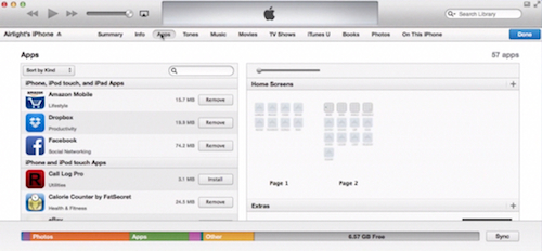 "choosing the ""Apps"" tab of iTunes on Mac"