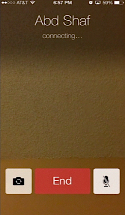 calling the person using FaceTime with iPhone running on iOS 7