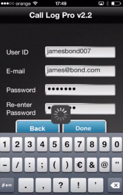 registering a new user ID in Call Log Pro on iPhone running on iOS 7