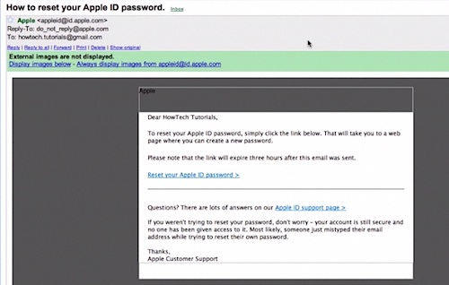 opening the Apple ID verification mail on Mac