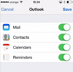 syncing Outlook account with iPhone running on iOS 7