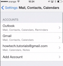 Outlook account freshly added to iPhone running on iOS 7