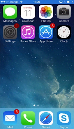 "tapping ""Settings"" on iPhone running on iOS 7"